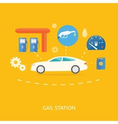 Car in gas station fuel petrol dispenser pump vector