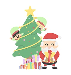 Christmas background with santa claus andchristmas vector