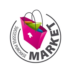 Round logo shopping bag vector image