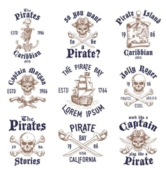 Set of vintage hand drawn pirates designed emblems vector