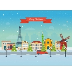 Merry christmas greeting card design paris vector