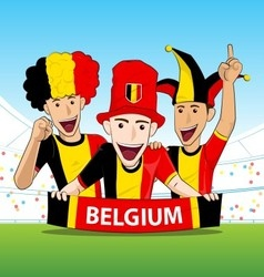 Group of belgium sport fans vector