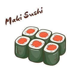 Isolated cartoon hand drawn fast food maki sushi vector