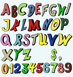 Multicolored alphabet in cartoon style vector