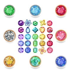 Popular colored gems cuts vector