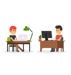 Man work with computer design flat vector