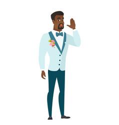 African-american groom calling for help vector