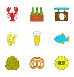 Alcohol icons set cartoon style vector