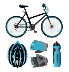 Bike or bicycle accessories helmet gloves and vector