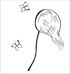 Black and white contour butterfly net vector
