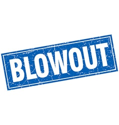 Blowout blue square grunge stamp on white vector