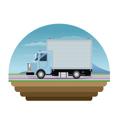 Blue truck cargo delivery transport stamp vector