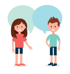 Boy and girl talking to each other conversation vector