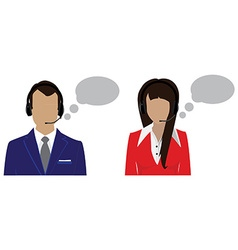 Call center female and male vector image vector image