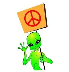 Cartoon alien with a placard vector image vector image