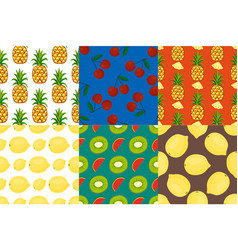 cartoon fresh fruits in flat style seamless vector image