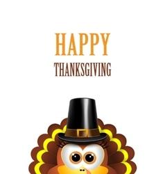 Cartoon turkey in a pilgrim hat card for vector