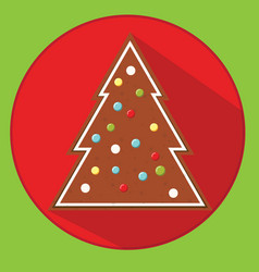 Christmas cookie gingerbread spruce flat vector