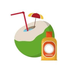 Coconut cocktail and sun block icon vector