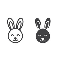 easter rabbit line and glyph icon vector image vector image