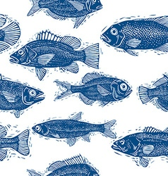 Freshwater fish endless pattern nature and marine vector image vector image
