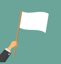 Give up hand worker waving a white flag vector