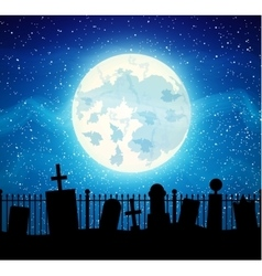 Graveyard cemetery tomb with fool moon vector