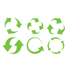 green recycle icons set vector image vector image