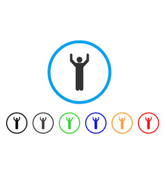 hands up pose rounded icon vector image vector image