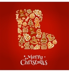Merry christmas winter boot of gingerbread cookies vector