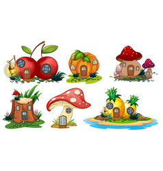 Mushroom and fruit houses vector