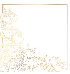 rose peony flowers border frame corner bright gold vector image vector image