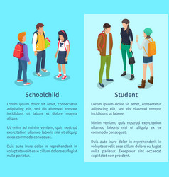Schoolchild and student set of posters with text vector