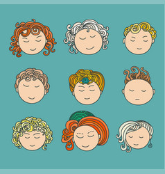 set of nine different cute hand drawn faces vector image vector image