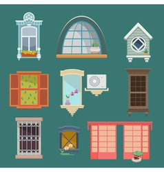Set of with a vintage windows vector image vector image