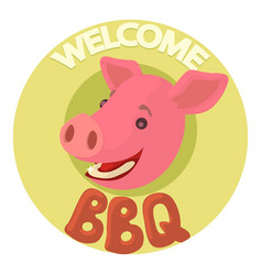 Welcome invitation to barbecue icon cartoon style vector