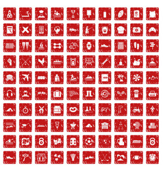 100 activity icons set grunge red vector