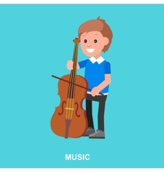Happy kid playing on contrabass vector