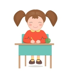 School girl sitting at the desk isolated vector