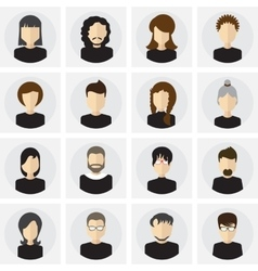 Collection of male and female faces avatars in vector