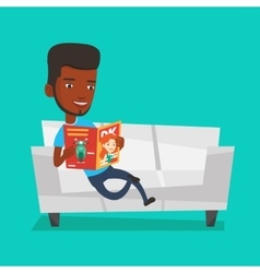 Man reading magazine on sofa vector