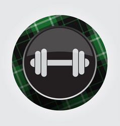 Button with green black tartan - dumbbell icon vector