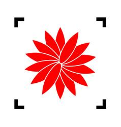 Flower sign red icon inside black focus vector