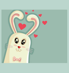 Cute easter bunny with heart shaped ears vector