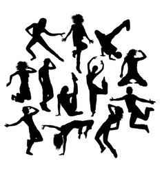 Cool dance silhouettes vector