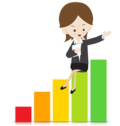 Business woman with growing graph 02 vector