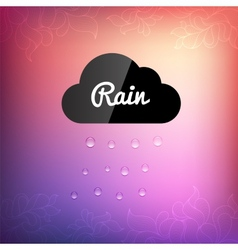Retro background with cloud rain drop icon vector