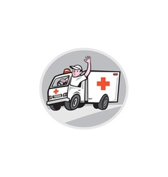 Ambulance emergency vehicle driver waving cartoon vector