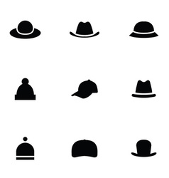 hats 9 icons set vector image