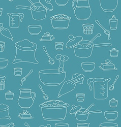 Kitchen utensils as a seamless pattern vector